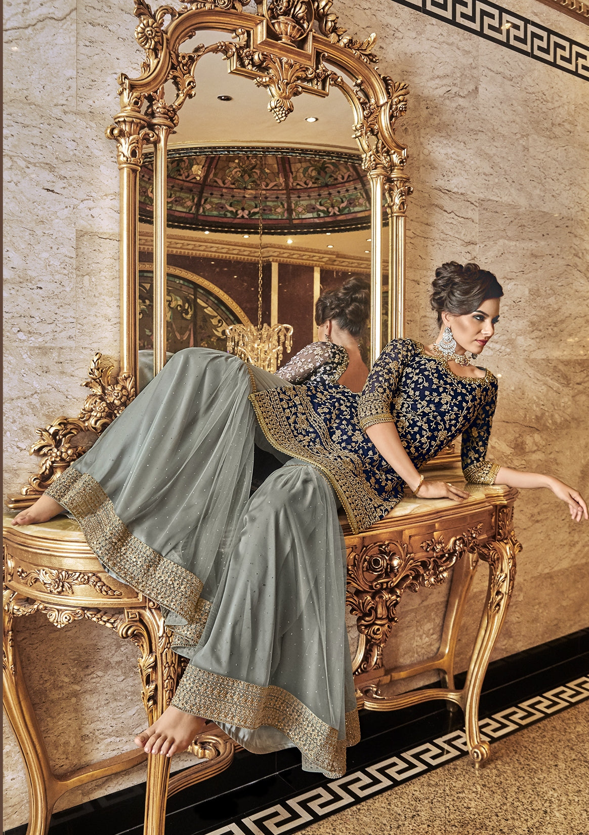 Navy Blue  Embroidered Sharara Latest Designer Pakistani Suits Online
