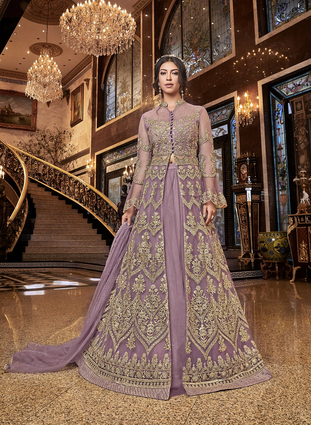 Lavender Embroidered Net Lehenga Salwar Indian Dresses Designs