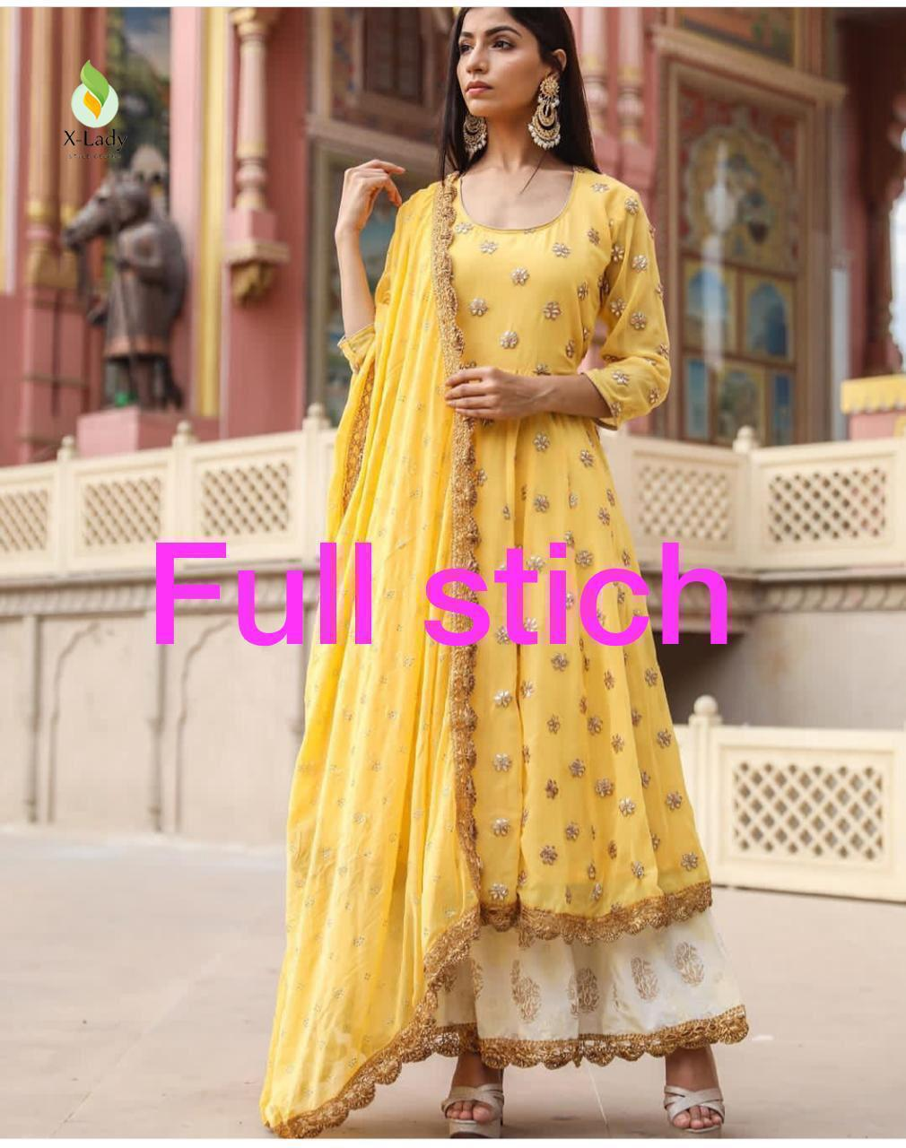 Yellow Georgette Latest Fashion Kurti Palazzo Suits Online Buy