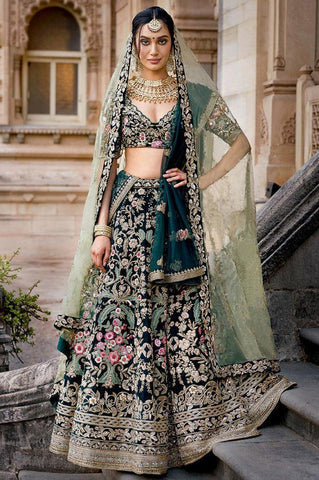 Bottle Green Silk Embroidered Latest Wedding Lehenga Choli Online