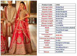 Imperial Red Silk Embroidered New Wedding Lehenga Cholis Online