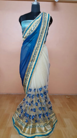 Blue And Off White Bollywood Online Shopping