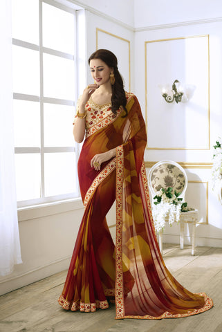 Multi Color Fancy Georgette Buy Online Stylish Sarees Collection