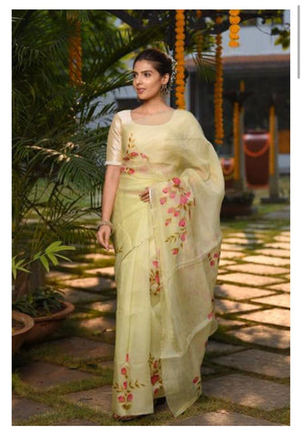 Beige and Pink Digital Printed Latest Organza Saree and Blouse Set