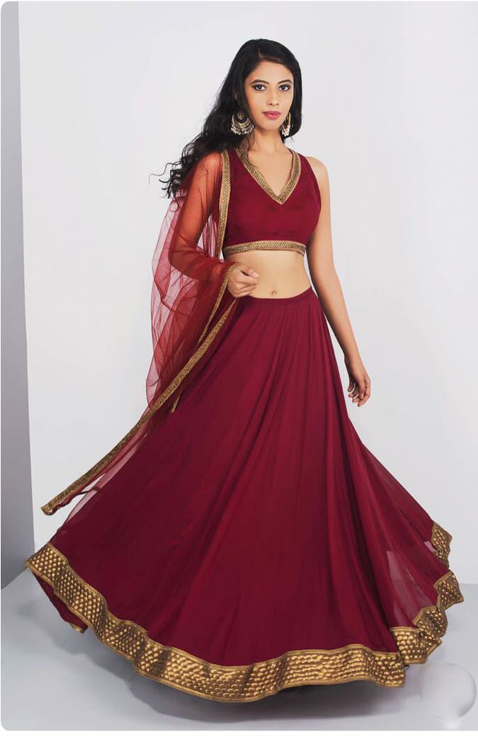 Maroon Georgette Latest Lehenga Designs With Price