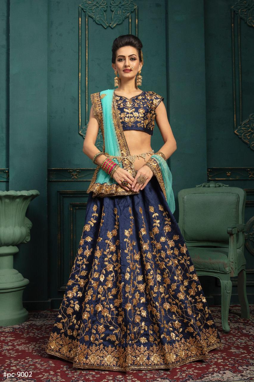 Navy Blue Embroidered Raw Silk Ghagra Dress Online Shopping