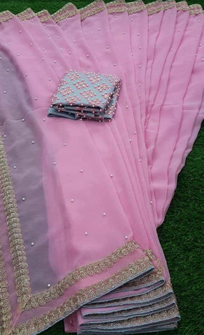 Light Pink Crepe Saree Indian Clothes Online Shopping USA