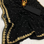 Black Georgette With Pearl Fancy Sarees With Price In India