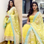 Kriti Sanon Yellow Georgette Embroidered Latest Fashion Anarkali Churidar