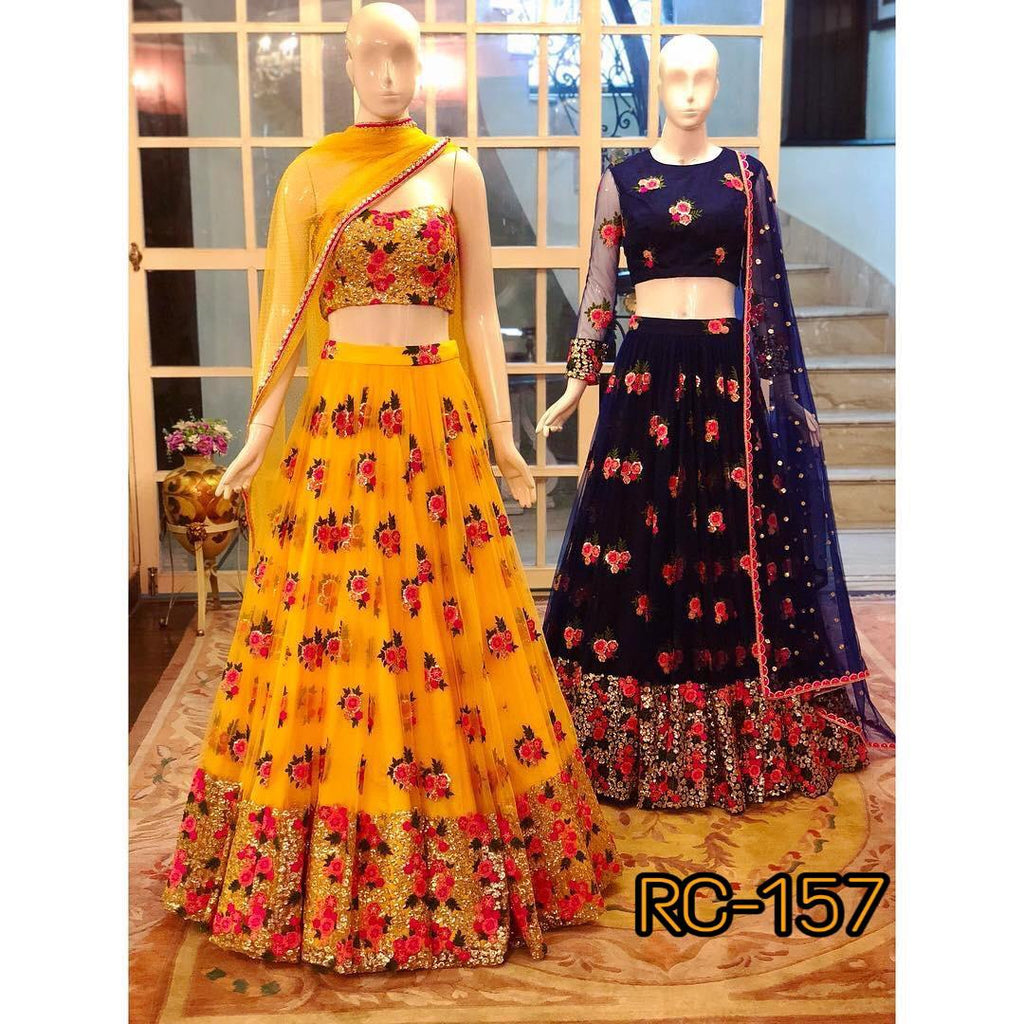 Set of 2 Yellow and Navy Blue Net Embroidered Latest Party Wear New Latest Lehenga Choli