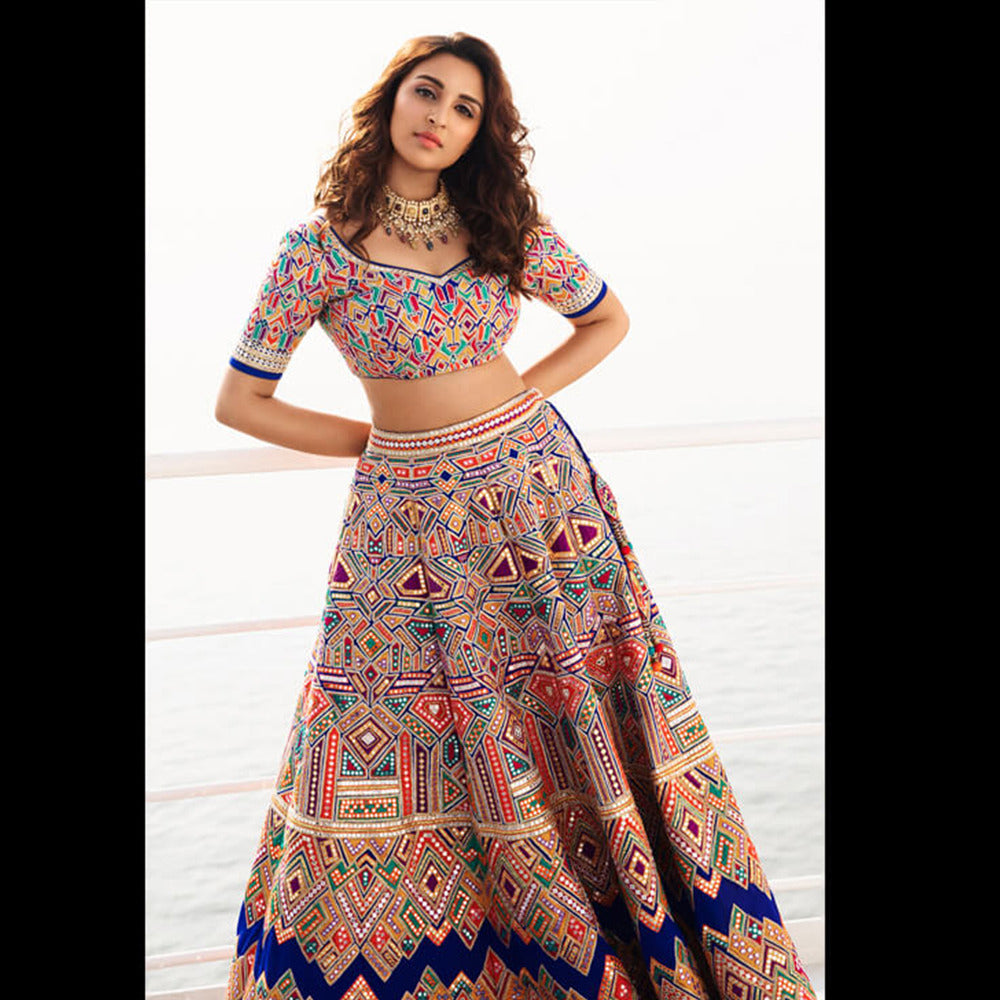 Parineeti Royal Blue Digital Print Bollywood Lehenga Blouse Online