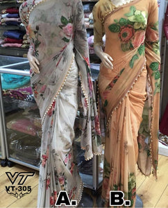 Light Grey Floral Printed Georgette Beautiful Sarees Online Shopping