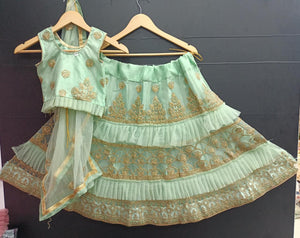 Light Green Net Ready To Wear Kids Lehenga Blouse With Dupatta
