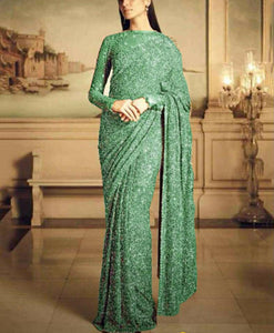Beautiful Sage Green Georgette Sequins Ladies Party Sarees Online