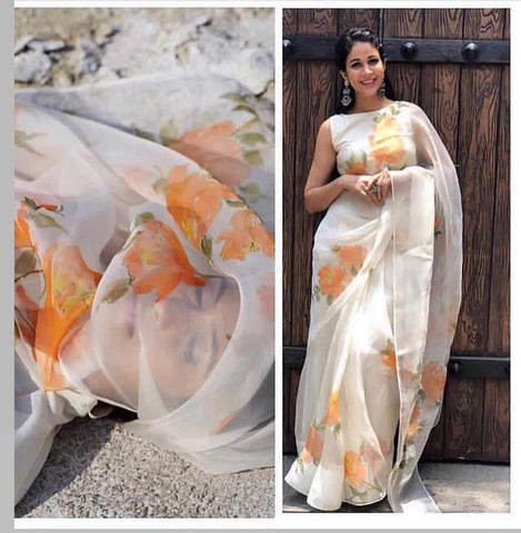 White Floral Print Organza New Saree Designs Online Shopping