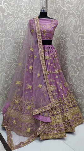 Lavender Net Embroidered Latest Party Wear Choli Dresses