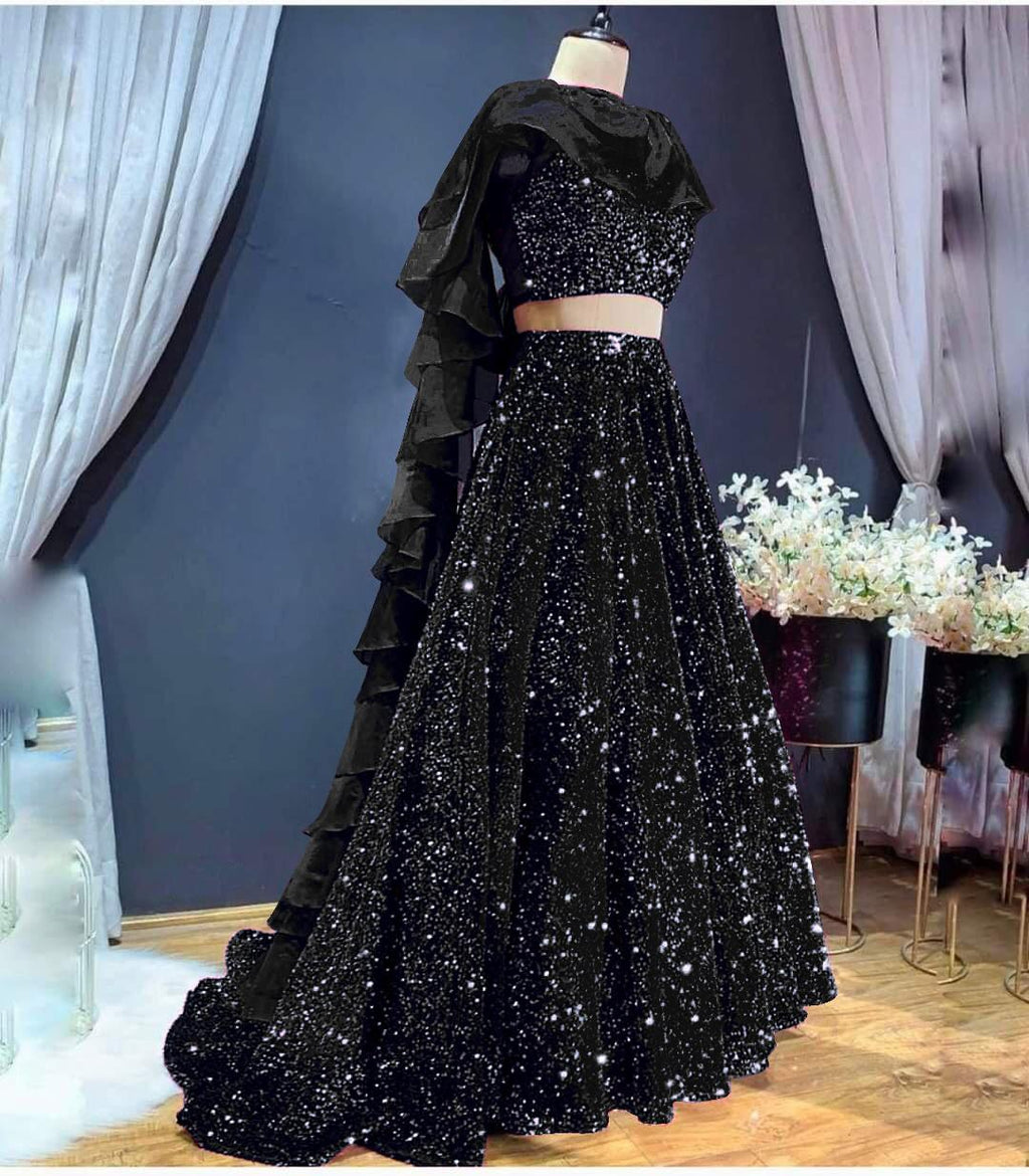 Black Color High Quality Sequins Lehenga Choli with Ruffle Style Dupatta