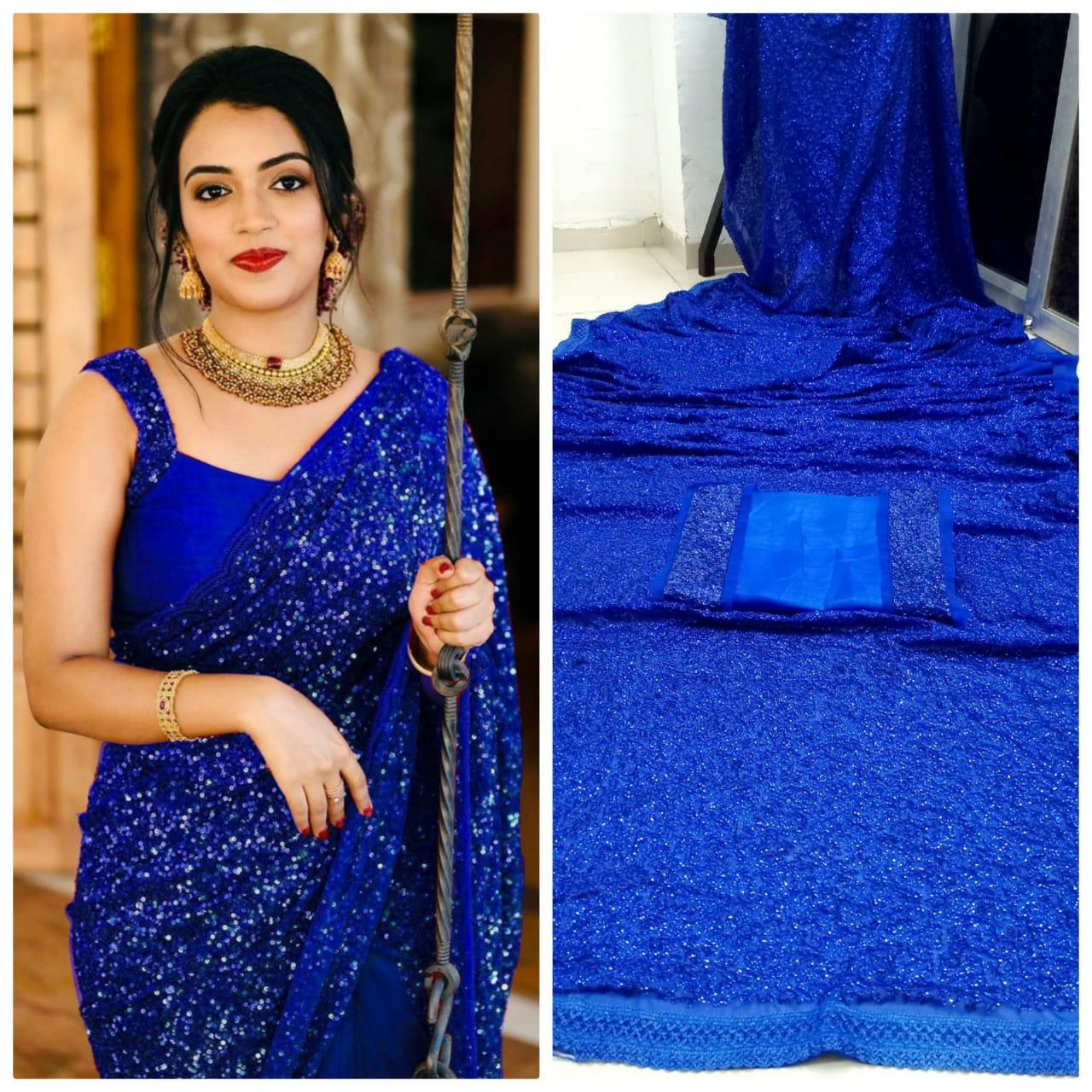 Blue Georgette Sequins Online Shopping For Ladies Sarees