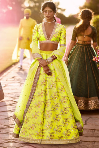 Neon Green Thai Silk Party Lehenga Choli Online Shopping With Price