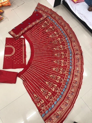 Red Taffeta Silk Embroidered Latest Lehenga Designs For Wedding With Price