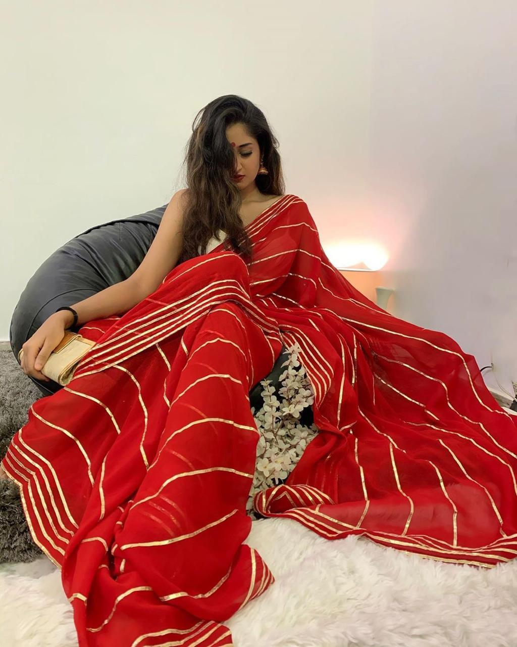 Red Georgette Latest Saree Fashion Online Shopping India