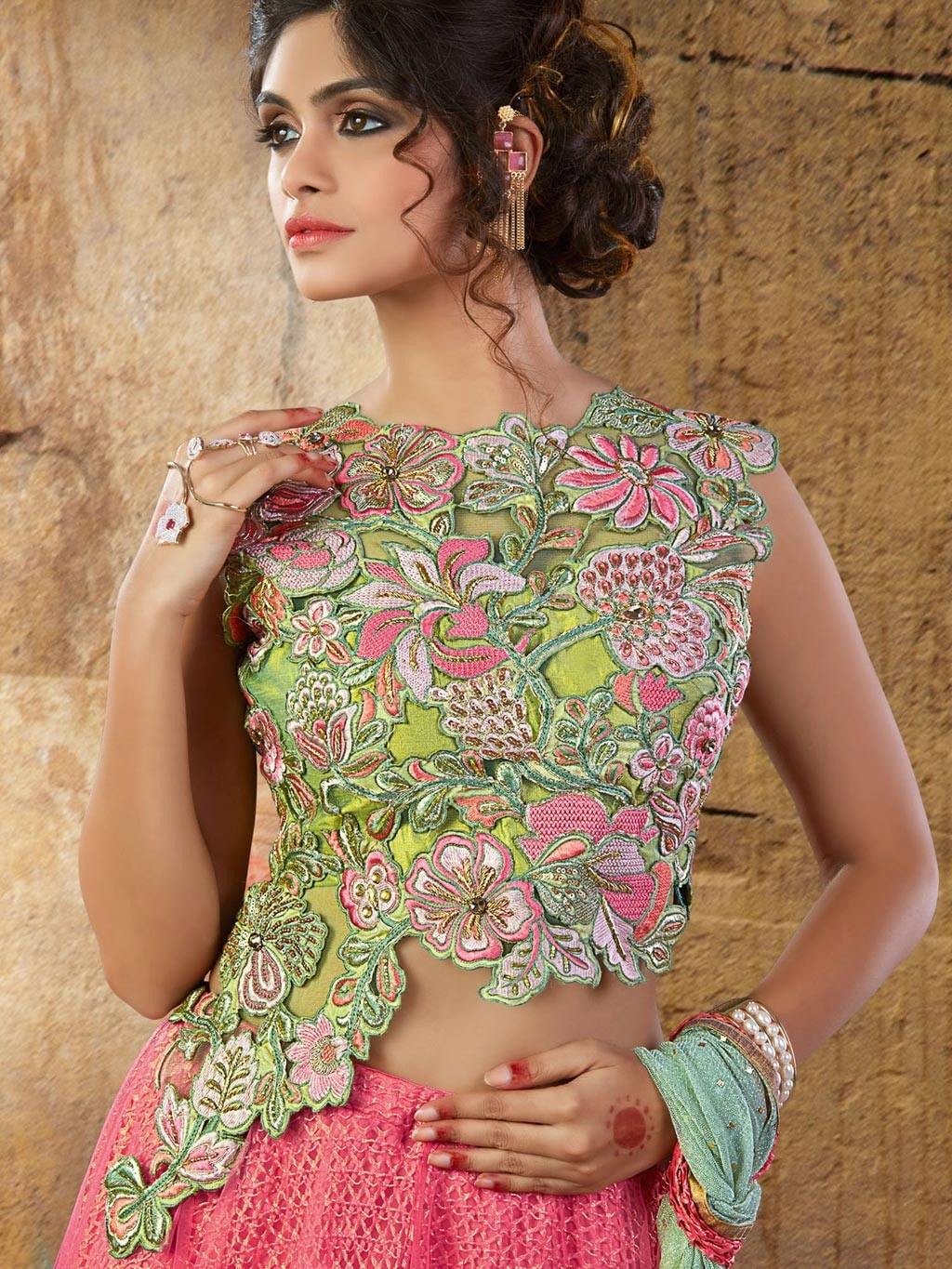 Fuss-Free Pink Net Designer Lehenga Choli Online Shopping ,Indian Dresses - 2