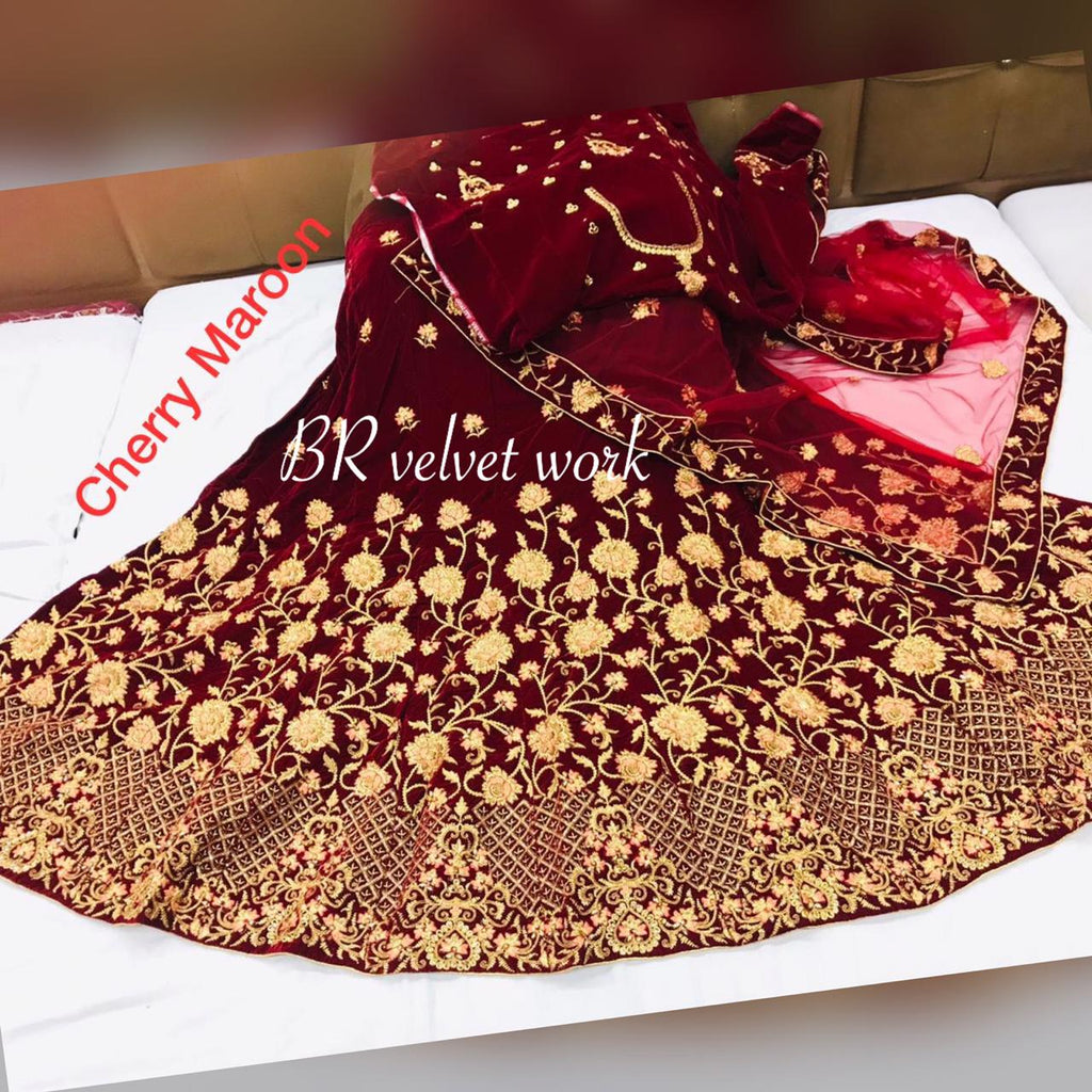 Cherry Maroon Velvet Embroidered Best Lehenga Designs Online