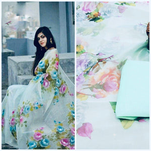 Light Blue Floral Artwork Digital Printed Latest Organza Saree and Blouse Set