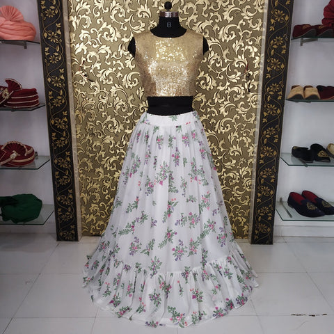 White Georgette Digital Print Party Lehenga Choli India Online