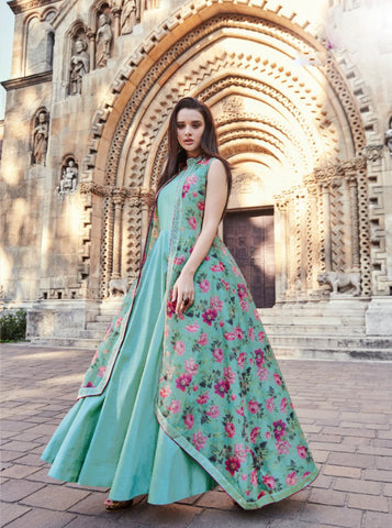 Light Aqua Digital Print With Silk Long Indian Salwar Kurta