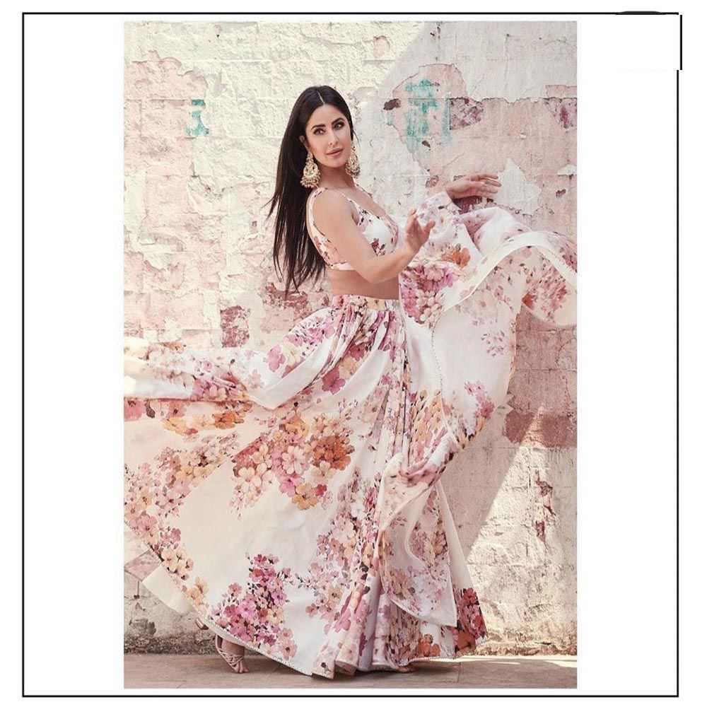 Off White Georgette Floral Print Beautiful Lehenga Blouse Designs Online