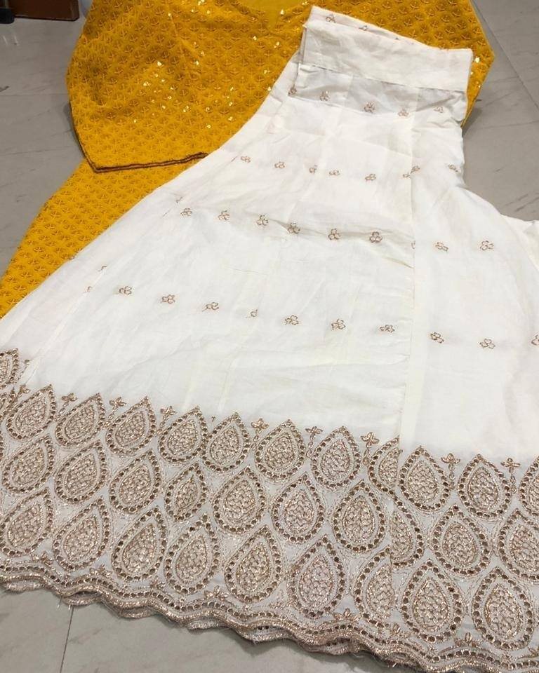 Mustard Cotton Chikankari Kurti And Cut Work Sharara Indian Suit