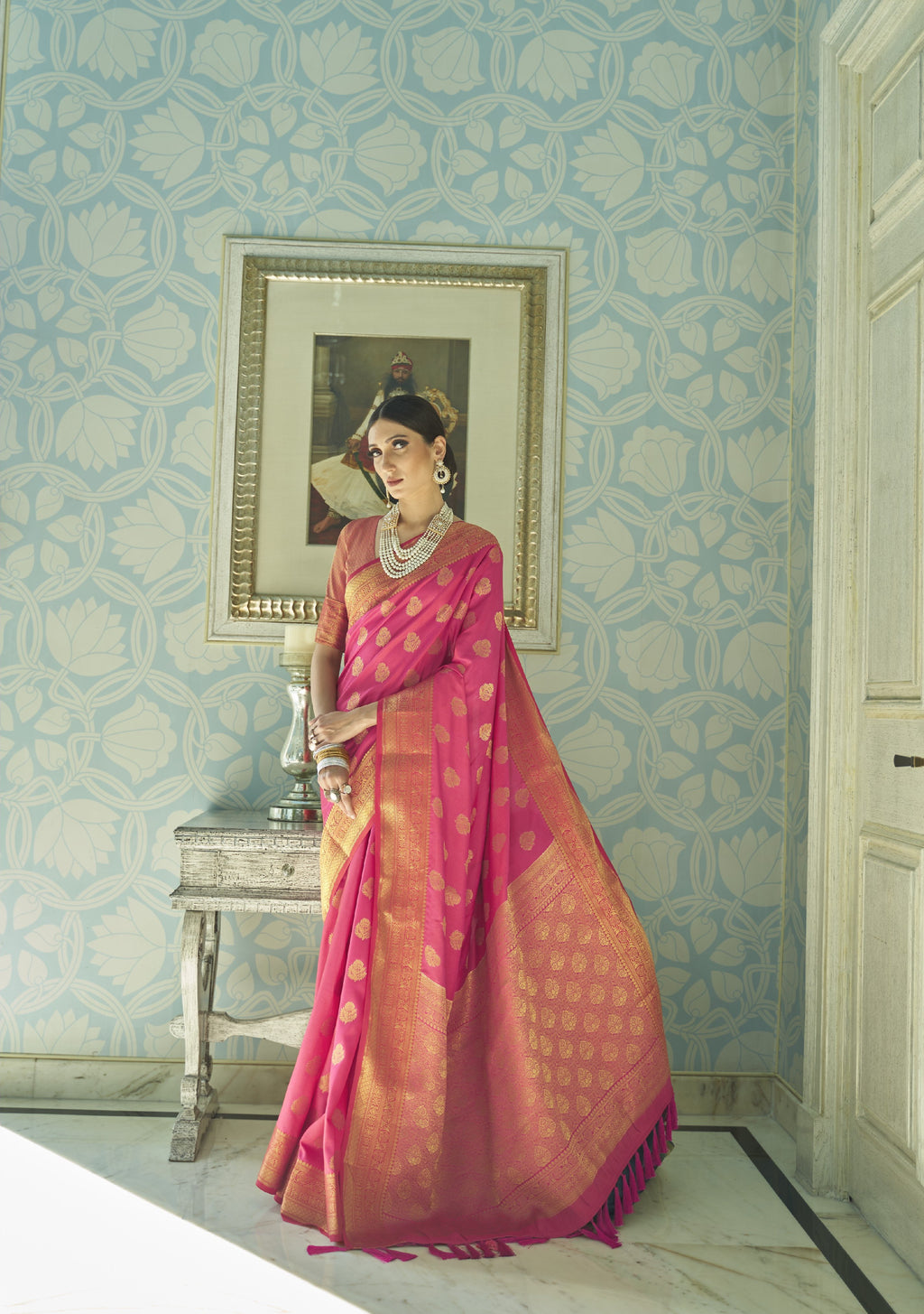 Pink Banarasi Silk Ladies Saree Online Shopping