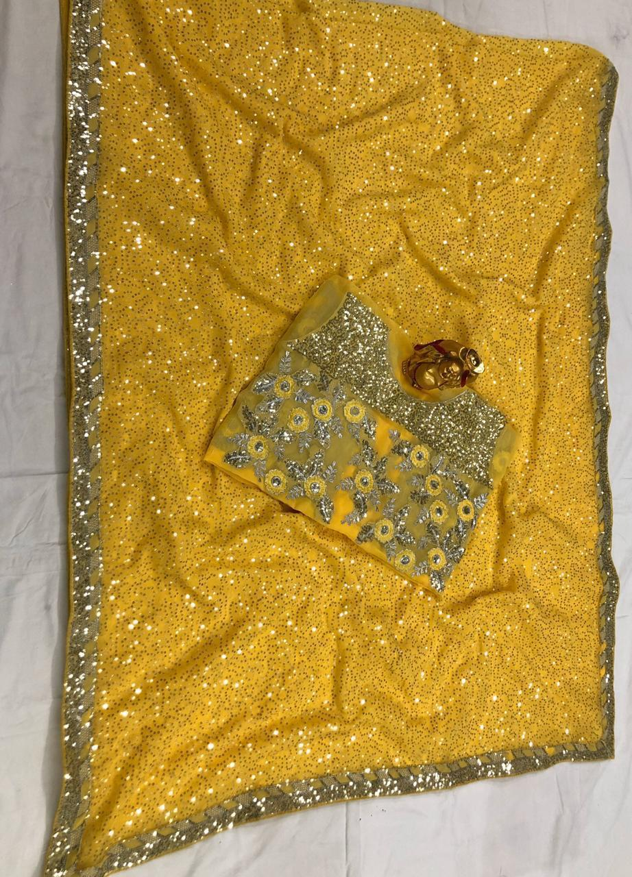 Yellow Georgette Sequins Work Party Sarees For Women Online
