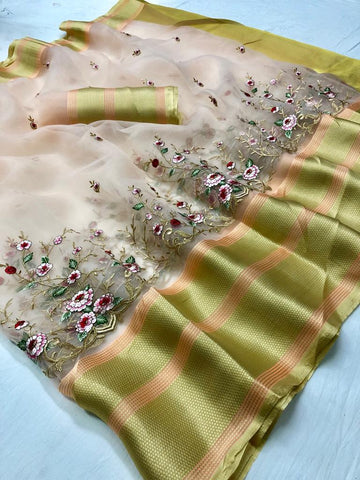 Pastel Pink Embroidered Organza Latest Fancy Sarees Buy Online