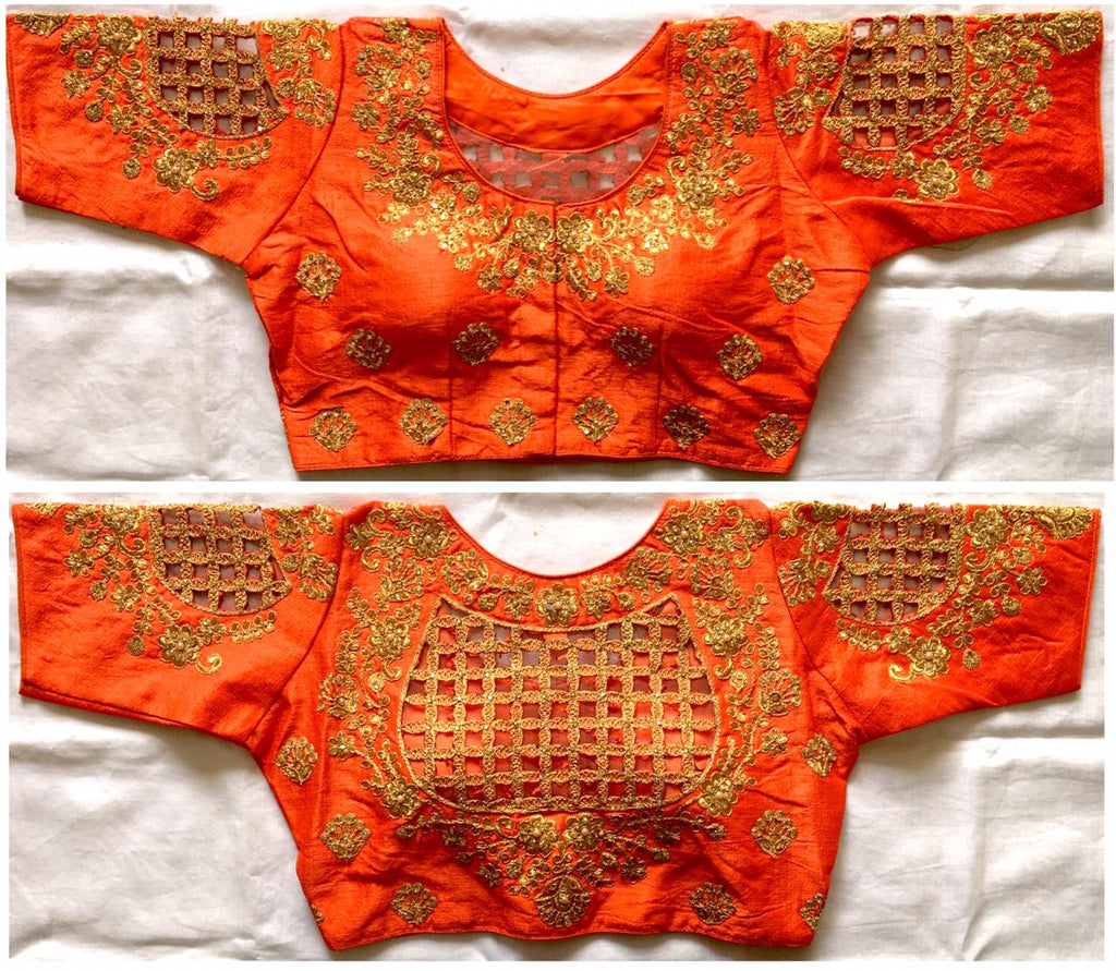 Orange Silk Blouse Embroidered Fancy Blouse Designs