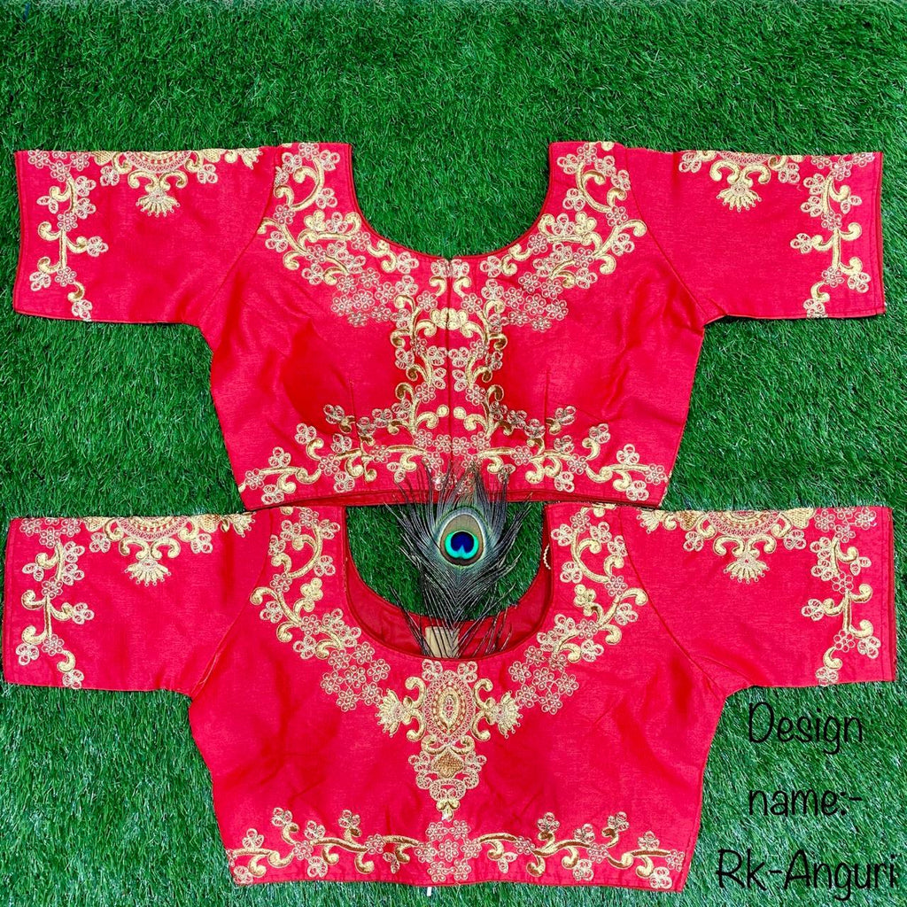 Red Embroidered Silk Short Sleeve Blouse Online