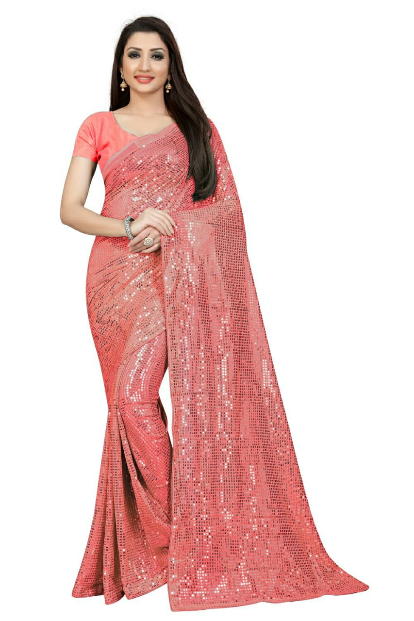 Latest Pink Georgette Sequins Stylish Sarees Online Shopping