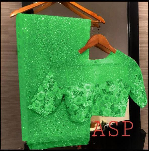 Green Georgette Sequins Indian Dress Saree Blouse Online