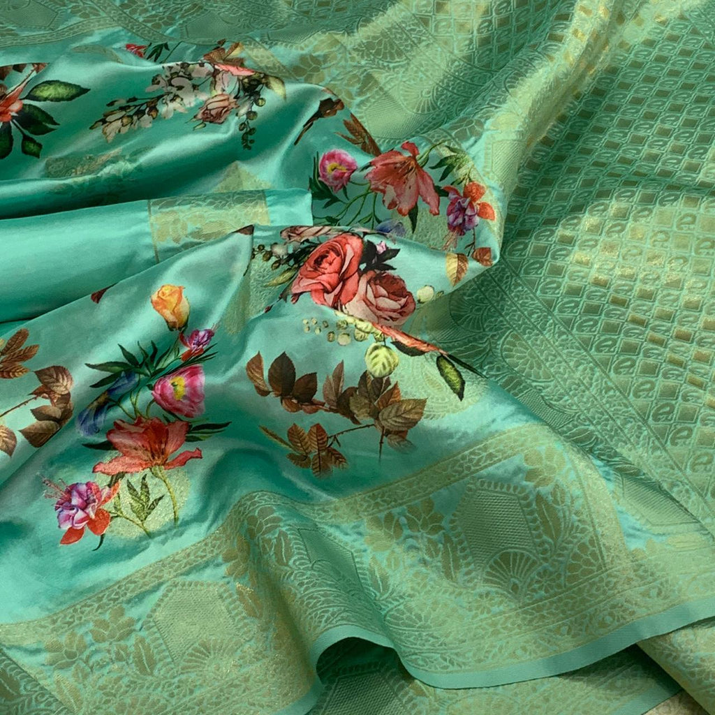 Sea Green Floral Print Banarasi Silk Fancy Sarees Online Shopping India