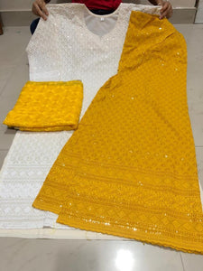Mustard and Off White Cotton Chikan Kurti Salwar Suits Online