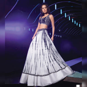 White Silk New Party Wear Lehenga Designs Online Shopping
