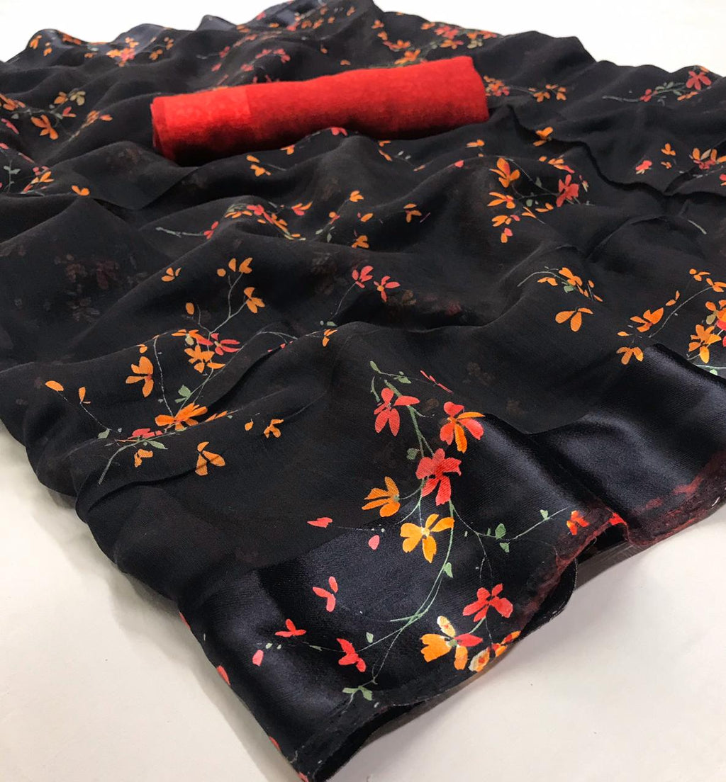 Black Floral Linen Saree Digital Print And Red Blouse