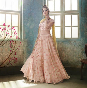 Peach Net Party Wear Best Lehenga Choli Designs Online Shop