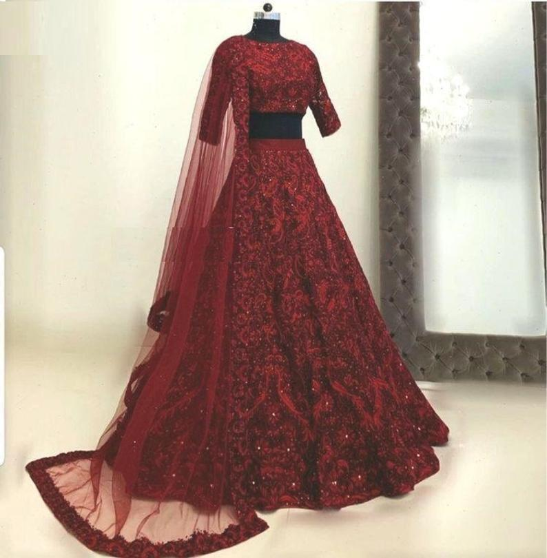 Maroon Hotselling Silk Embroidered Lehenga Choli in 7 colors
