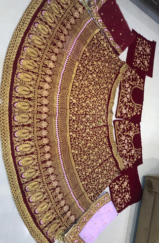 Embroidered Maroon Velvet Elegant Bridal Lehenga Choli Online Shopping