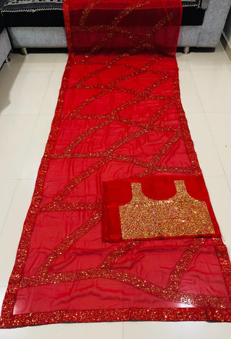 Sequins Work Red Georgette Latest Party Wear Sarees Online