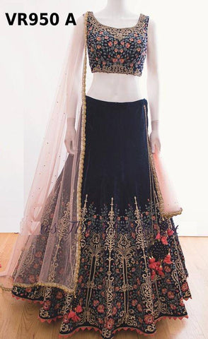 Navy Blue Embroidered Velvet Party Wear Ghagra Choli Online