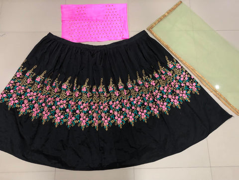 Black Taffeta Silk Embroidered New Fashion Chaniya Choli