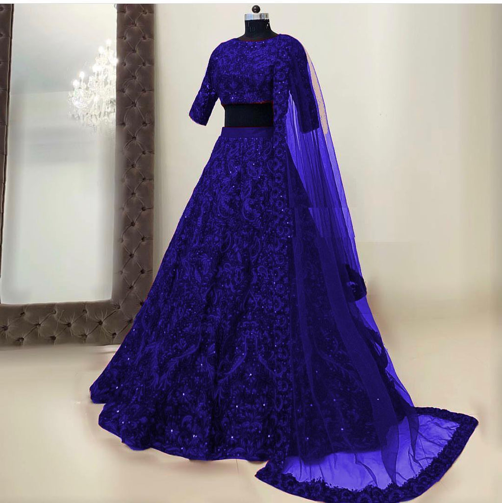 Dark Blue Silk Embroidered Lehenga Choli in 5 colors